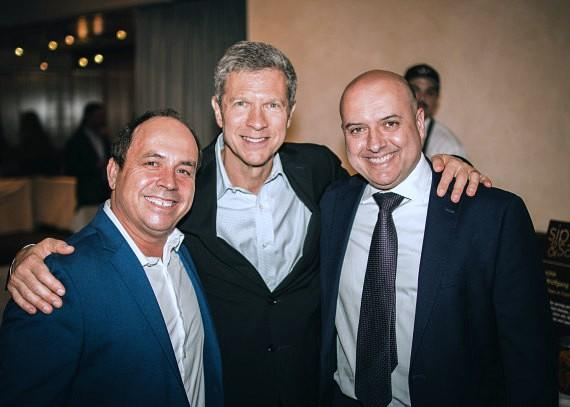(L) Spago Manager Carlos Perez, WP Partner Tom Kaplan, (R) CUT Manager Gianni Toffanello