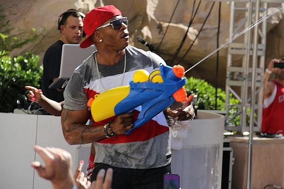 LL Cool J with water gun at Rehab