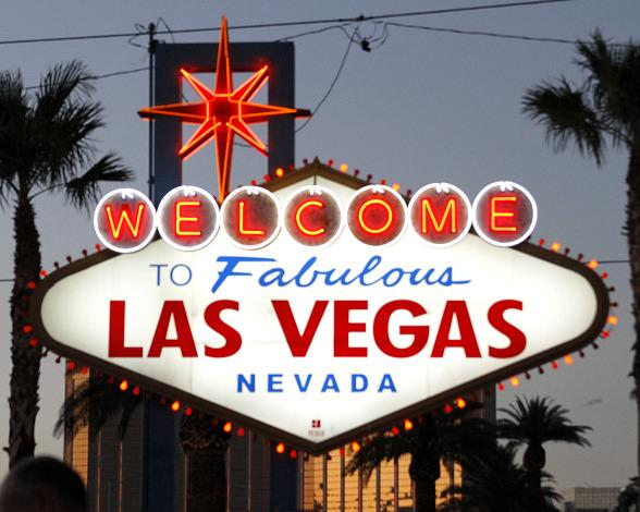 """Welcome to Fabulous Las Vegas"" Sign Goes Orange with Three Square Food Bank"