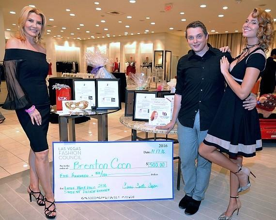 LVFC President Carrie Cooper With Little Black Dress 2016 Competition Design Winner Brenton D. Coon and Model