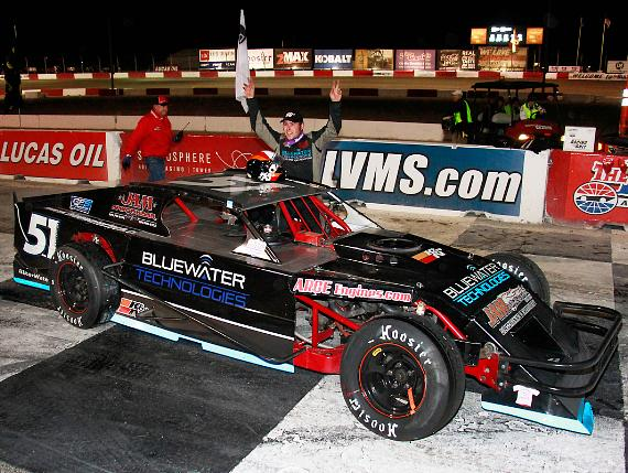 Jim Mardis celebrates in Victory Lane after winning the 75-lap Lucas Oil Modified Series feature race Saturday night at The Bullring