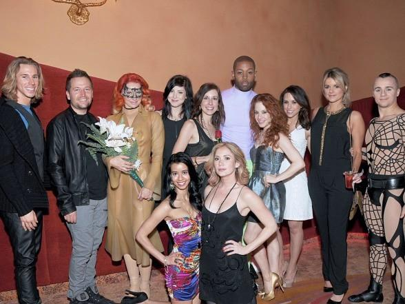Lacey Chabert (third from right) and Ali Fedotowsky (second from right) enjoy a sexy night out with friends at Zumanity