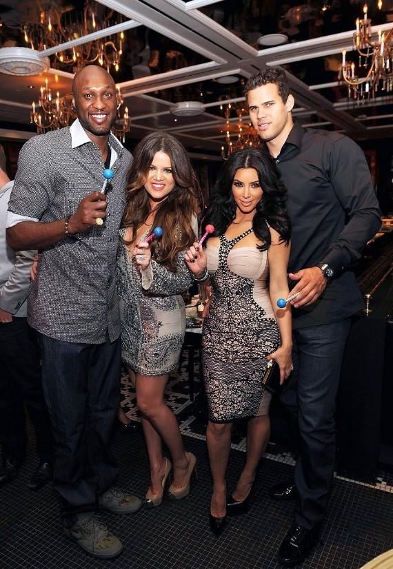 Lamar Odom, Khloé Kardashian Odom, Kim Kardashian and Kris Humphries with Couture Pops at Sugar Factory at Paris Las Vegas