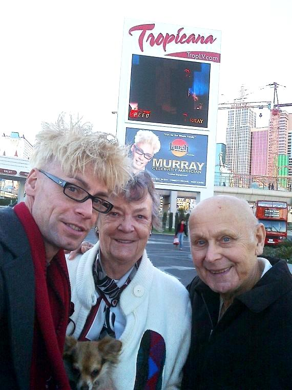 Murray with his parents, Arlene and John Sawchuk outside The Tropicana Las Vegas