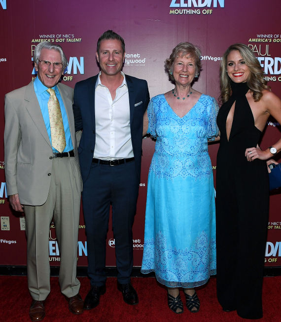 Las Vegas Headliner Paul Zerdin and Robyn Mellor with Dan and Hillary Zerdin at Opening Night of PAUL ZERDIN MOUTHING OFF at Planet Hollywood Resort & Casino