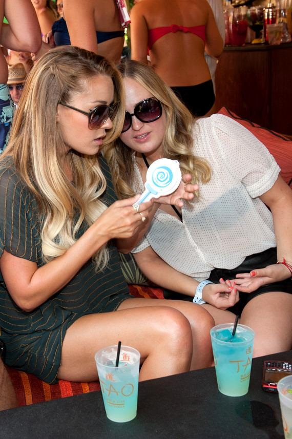 Lauren Conrad and friend at TAO Beach with Hpnotiq