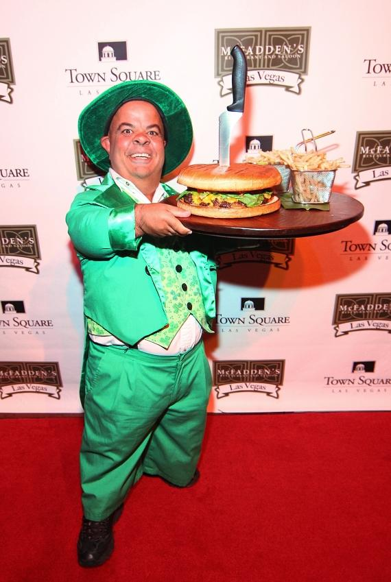 Leprechaun posing with McFadden's 3-pound burger