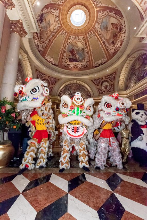 Lion Dancers in Grand Colonnade