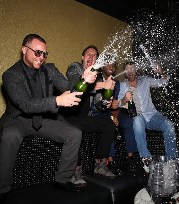 Ryan Lochte and Friends Pops Bottles to Celebrate 2014 at SHe by Morton's in Las Vegas