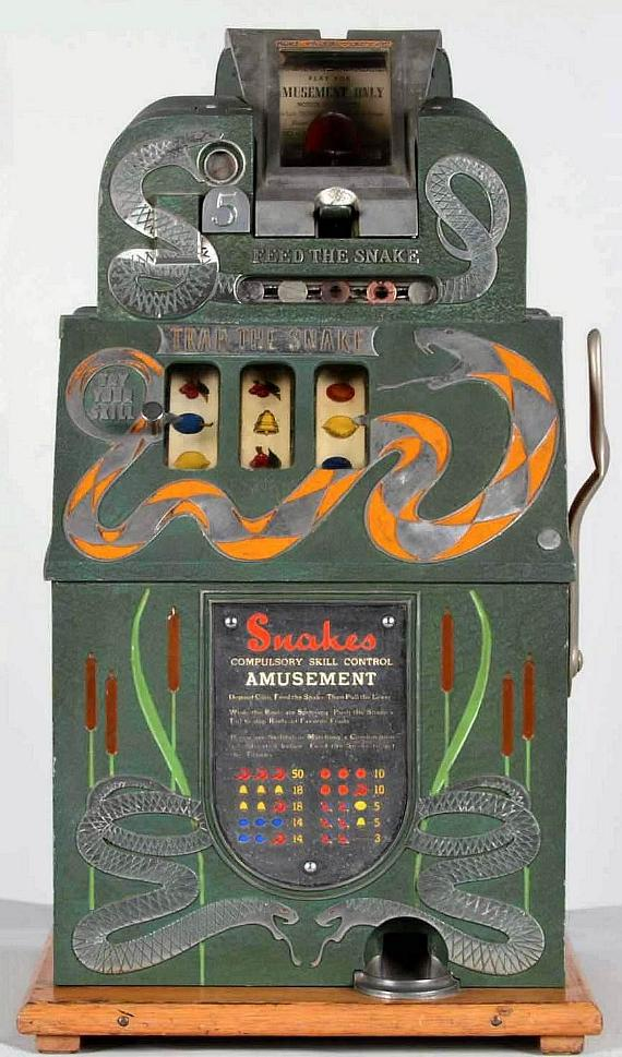Lot #5, a late 1930's 5¢ Mills Novelty Co. Hoke Snake slot machine made $60,000
