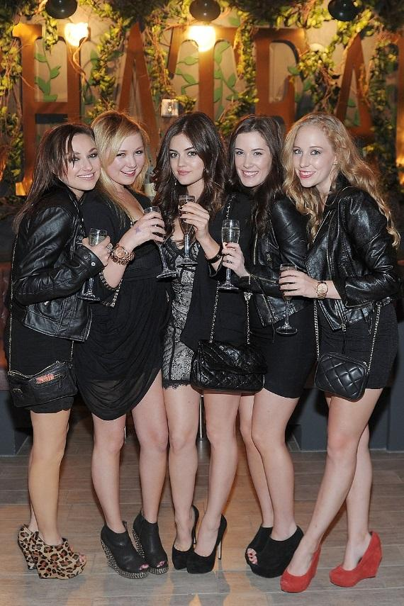 """Pretty Little Liars"" star Lucy Hale (center) toasts champagne and  poses with her girlfriends at Chateau Nightclub & Gardens"