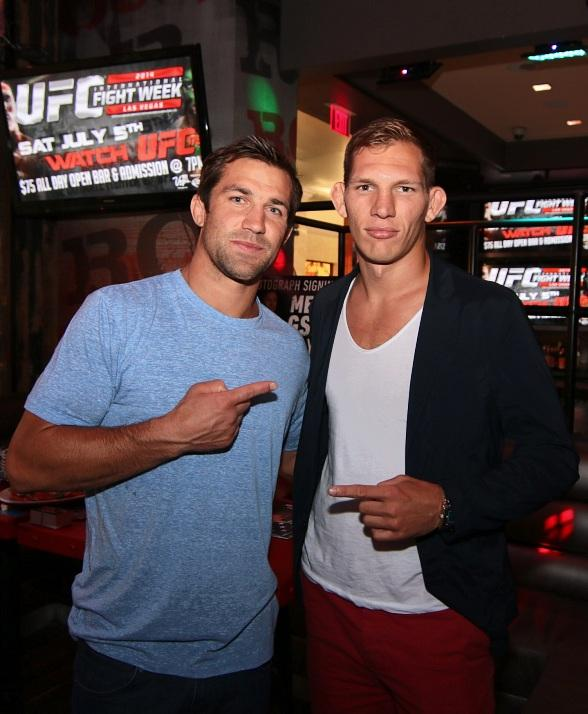 Luke Rockhold and Luke Barnatt at PBR Rock Bar