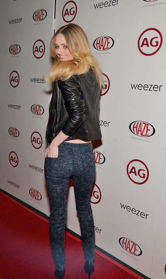 Lydia Hearst on red carpet at Haze Nightclub