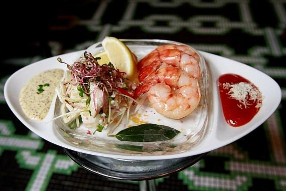 Chilled seafood pairing with crab salad and shrimp cocktail