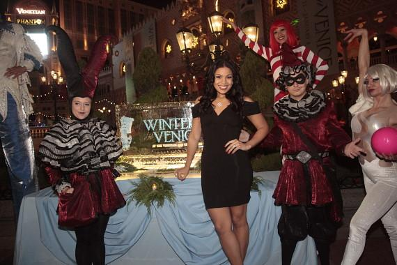 Jordin Sparks poses with holiday characters during the inaugural Winter in Venice celebration
