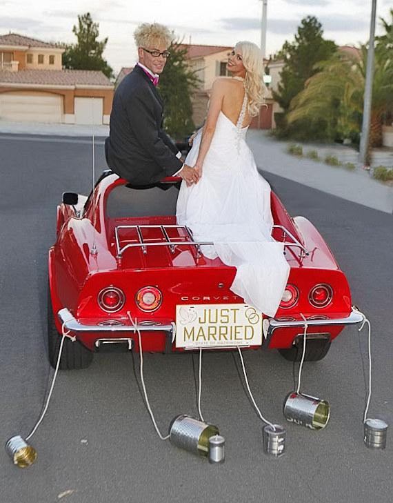 Murray SawChuck and Chloe Louise Crawford ride off in their red Corvette