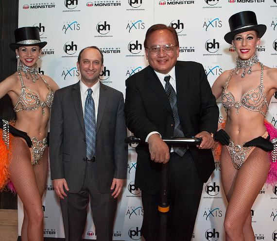 Caesars Entertainment Senior Vice President of Marketing and Entertainment Jason Gastwirth with Monster CEO Noel Lee and Las Vegas Showgirls