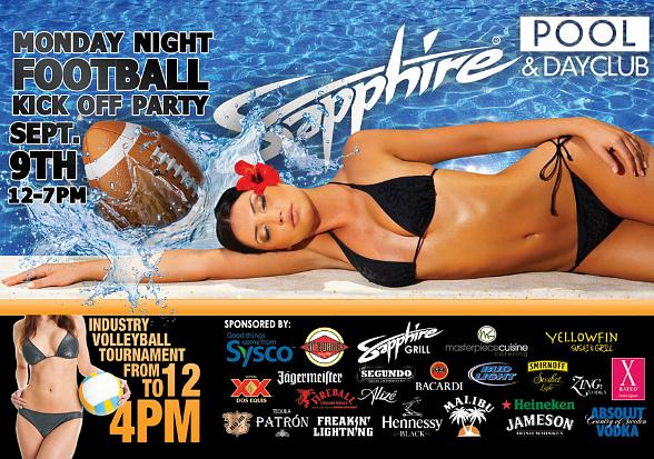 Sapphire Pool & Dayclub to Host 2013 Monday Football Kick Off Party Sept. 9