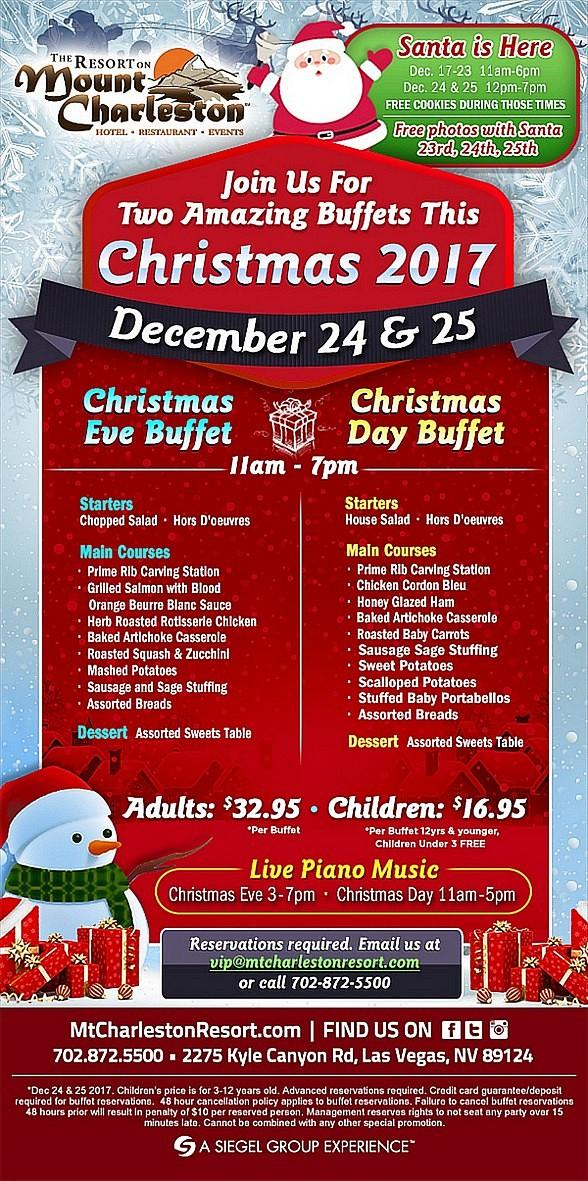 Join the Resort on Mount Charleston for their Annual Christmas Eve and Christmas Day Buffets