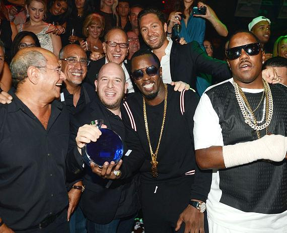 Lou Abin, Marc Packer, Rich Wolf, Noah Tepperberg, Puff Daddy and Jason Strauss during the 10th anniversary celebration at TAO Las Vegas