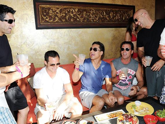 Mario Lopez with friends at TAO Beach in Las Vegas