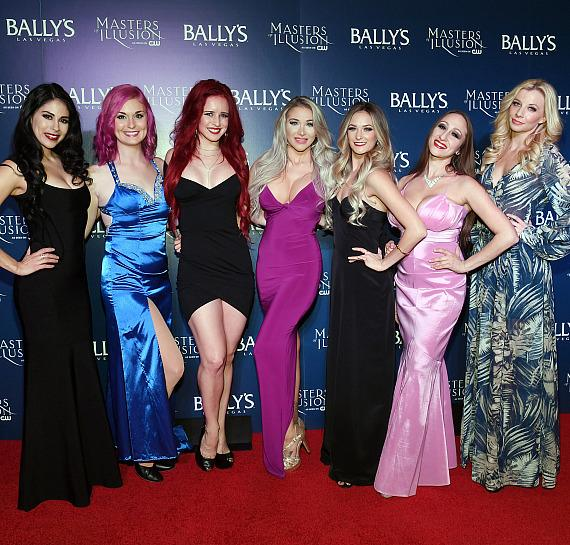 Masters of Illusion female dancing assistants on the red carpet at opening night of Masters of Illusion at Bally's Las Vegas