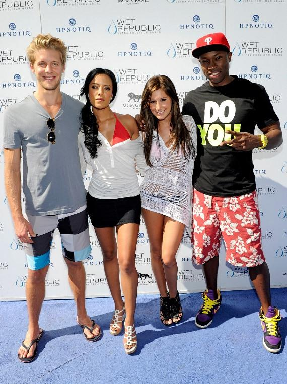 Matt Barr, Heather Hemmens, Ashley Tisdale and Robbie Jones on blue carpet at WET REPUBLIC