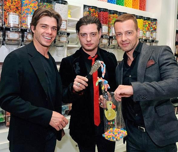 Matthew, Andrew and Joey Lawrence (L to R) pick out sweets at Sugar Factory