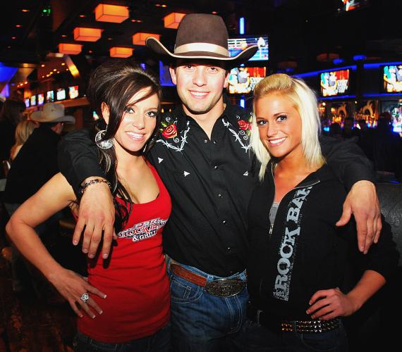 PBR Superstar McKennon Wimberly with PBR Rock Bar girls Jena Carpin and Trina Naughton
