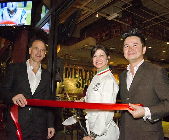 Carla Pellegrino, Tom Recine and Jesse Shen Prepare to cut the Red Ribbon