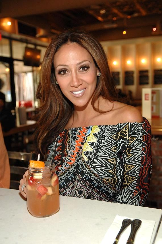 Melissa Gorga enjoying Meatball Spot's Strawberry Peach Sangria