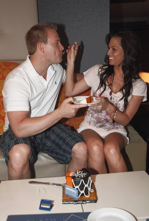 Melissa feeding Tye cake at Lagasse Stadium in The Palazzo