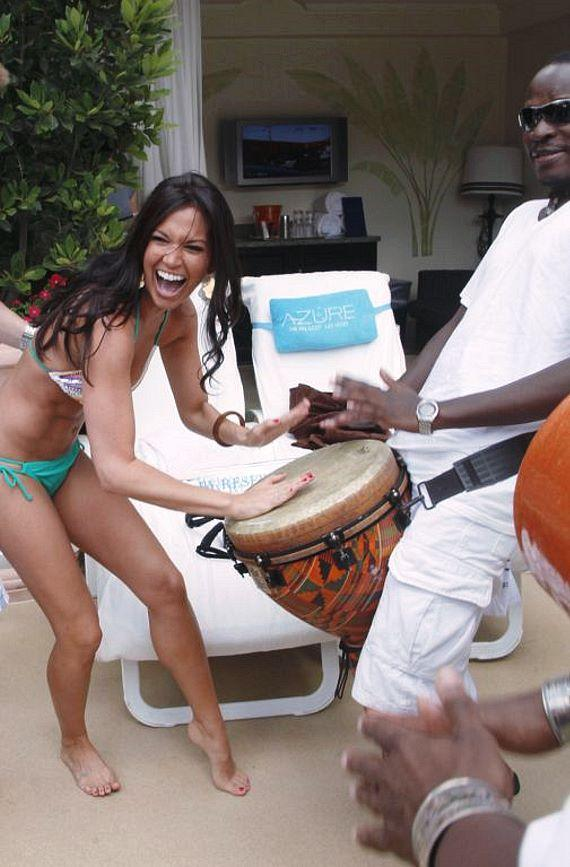 Melissa playing bongos