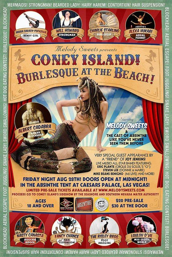 "Melody Sweets Presents ""Coney Island! Burlesque at the Beach!"" Aug. 28 at ABSINTHE's Spiegeltent at Caesars Palace"