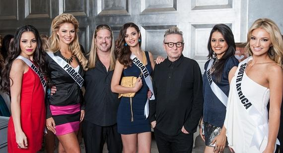 Michael Boychuck, Laurent D. with pageant contestants at COLOR Salon