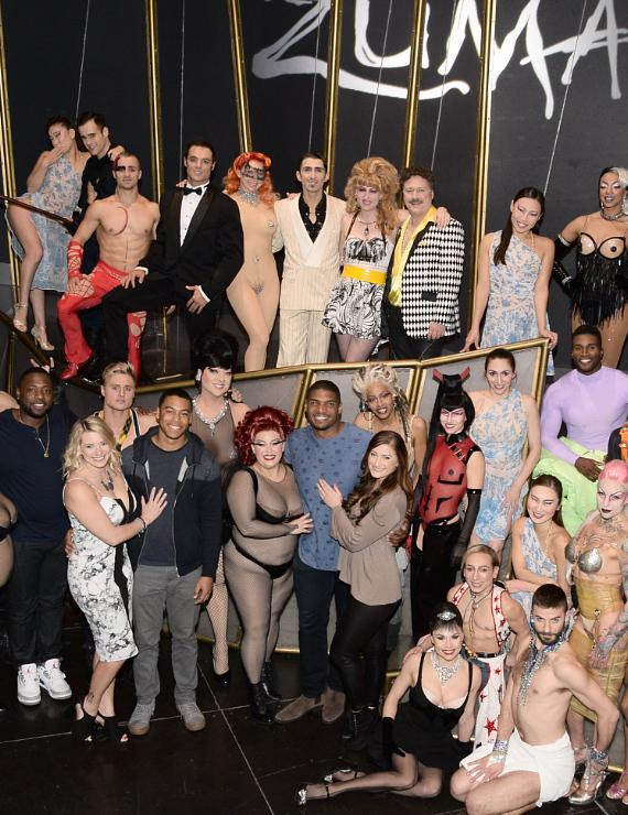Michael Sam with the cast of Zumanity