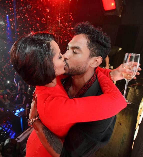 Miguel & Nazanin Mandi kiss at TAO New Year's celebration