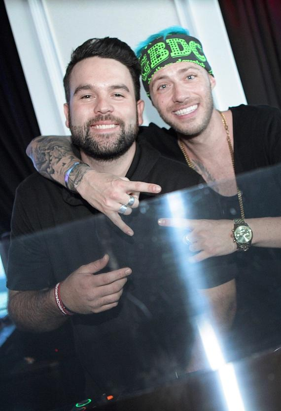 Mike Shay and DJ BVillain behind DJ booth at GBDC