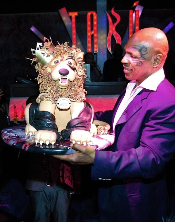 Mike Tyson with Lion Cake at Tabú Ultra Lounge