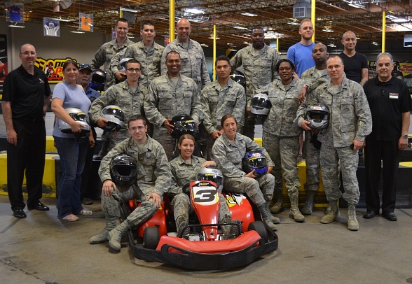 Military Appreciation Event - Brad Mark, C.O.O. of Pole Position Raceway with active and retired military personnel