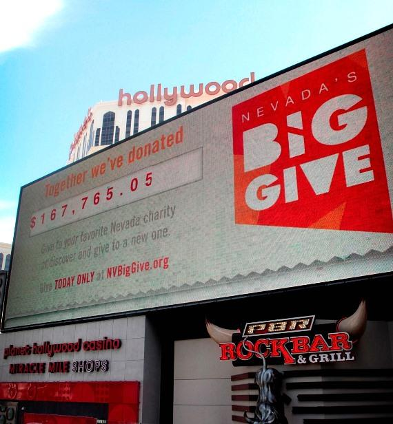 Miracle Mile Shops Strip-side LED screen displaying total amount rasied during Nevada's Big Give
