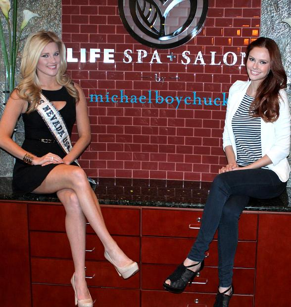 Miss Nevada USA Chelsea Caswell and Miss USA 2011 at LifeSpa+ Salon by Michael Boychuck