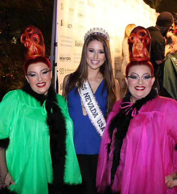 Miss Nevada USA Nia Sanchez with cast members of Zumanity by Cirque du Soleil