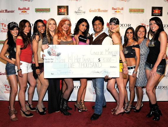 Miss T&T Hot Tamale contestants on the red carpet with Erik Estrada