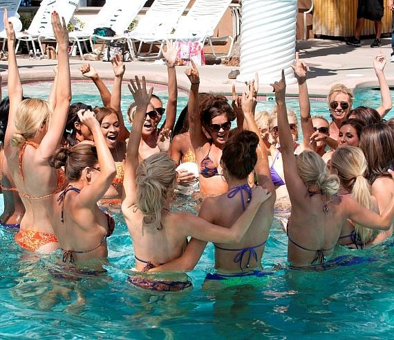Miss USA contestants celebrate a water volleyball game win at Beach Club Pool at Flamingo Las Vegas