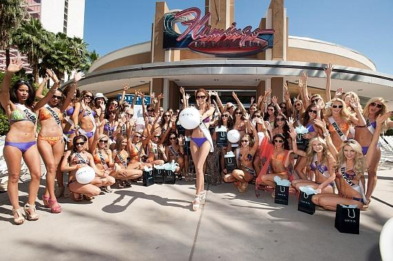 The Miss USA contestants and reigning Miss USA Alyssa Campanella at Beach Club Pool at Flamingo Las Vegas.