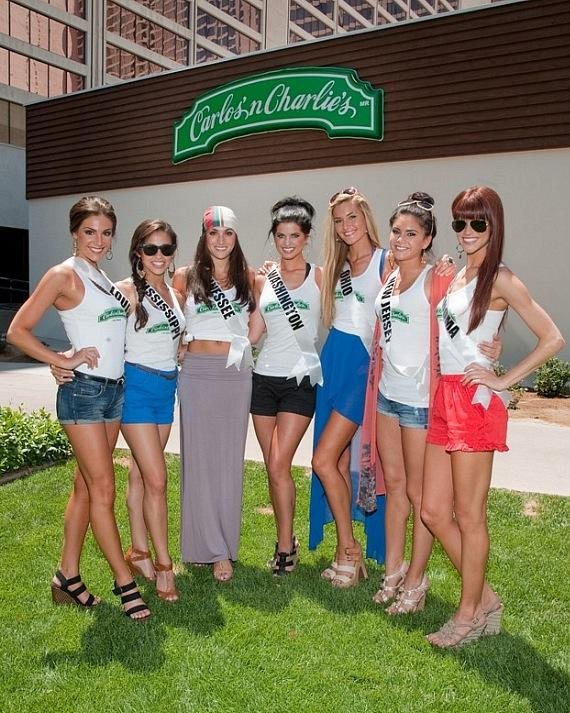 Miss USA contestants get ready for lunch at Carlos'n Charlie's at Flamingo Las Vegas.