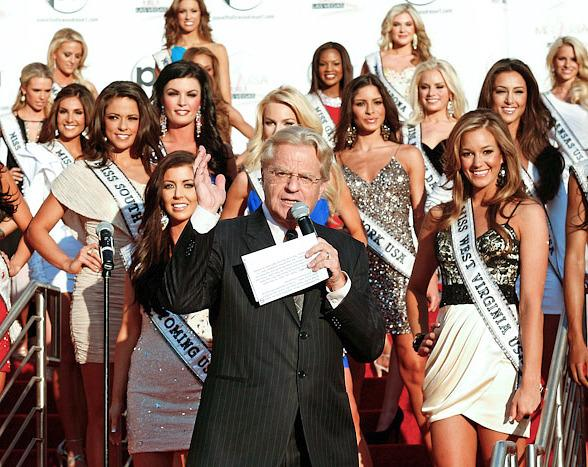 Jerry Springer, celebrity television personality and special guest host of The Price is Right Live! at Bally's Las Vegas, welcomes the Miss USA contestants at Planet Hollywood Resort & Casino.