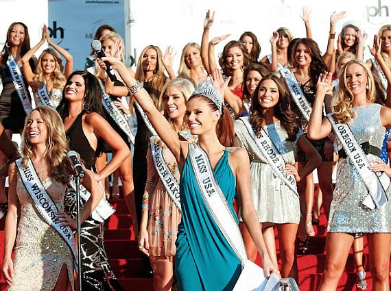 Miss USA 2011 Alyssa Campanella with Miss USA 2012 Contestants at Planet Hollywood