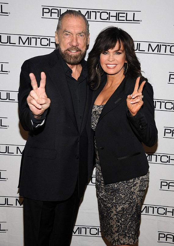 John Paul DeJoria and Marie Osmond on red carpet